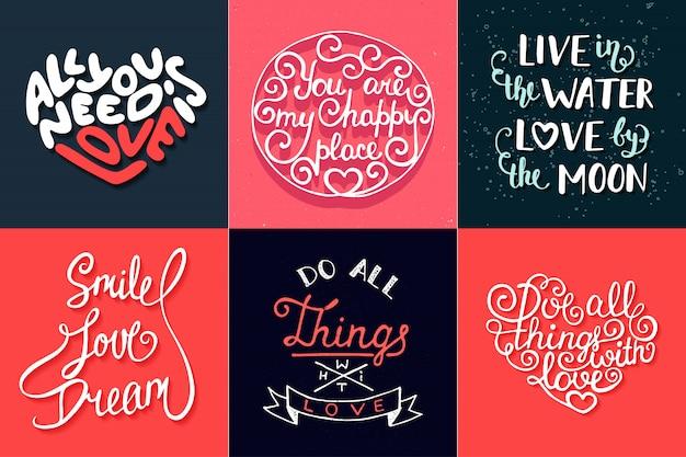 Conjunto de tipografia exclusiva desenhada mão romântica