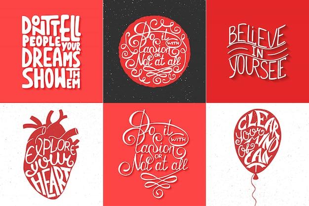 Conjunto de tipografia motivacional e inspiradora