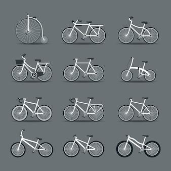 Conjunto de tipos de bicicletas e objetos de estilo