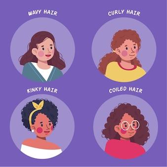 Conjunto de tipos de cabelos cacheados desenhados à mão plana