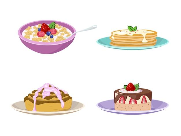 Conjunto de tipos de café da manhã. coleção plana de desenho animado