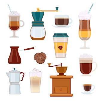 Conjunto de tipos de café e acessórios de café