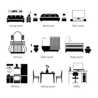 Conjunto de tipos de quarto em casa. estilo de linha fina.