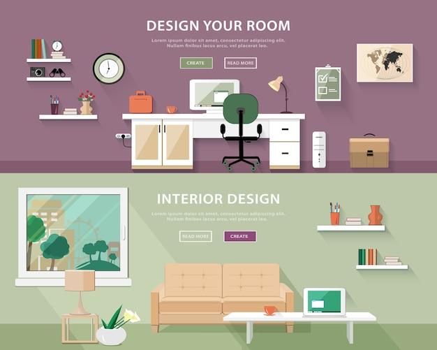 Conjunto de tipos de quartos interiores. ilustração de banner da web