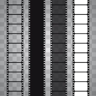Conjunto de tira de filme isolado em fundo transparente