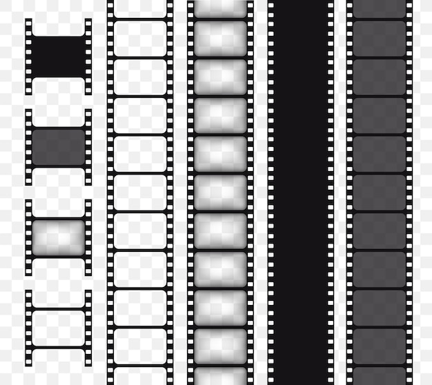 Conjunto de tira de filme vetorial isolado em fita de filme de fundo transparente ilustração vetorial