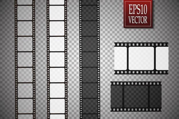 Conjunto de tira de filme vetorial isolado em fundo transparente