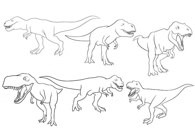 Conjunto de tiranossauro mão desenhada
