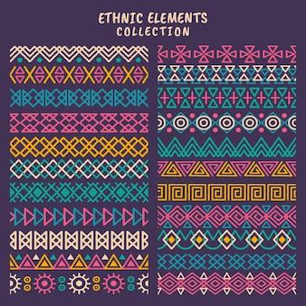 Conjunto de tiras de elementos étnicos, motivos de tiras étnicas, étnicas feitas à mão com listras