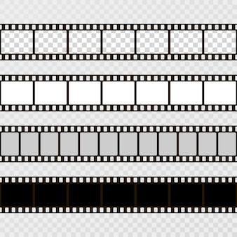 Conjunto de tiras de filme. coleção de filmes para a câmera. quadro de cinema. modelo em fundo transparente