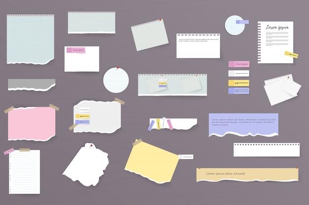 Conjunto de tiras de papel brancas e coloridas horizontais rasgadas, notas e caderno sobre um fundo cinza. folhas de caderno rasgadas, folhas coloridas e pedaços de papel rasgado.