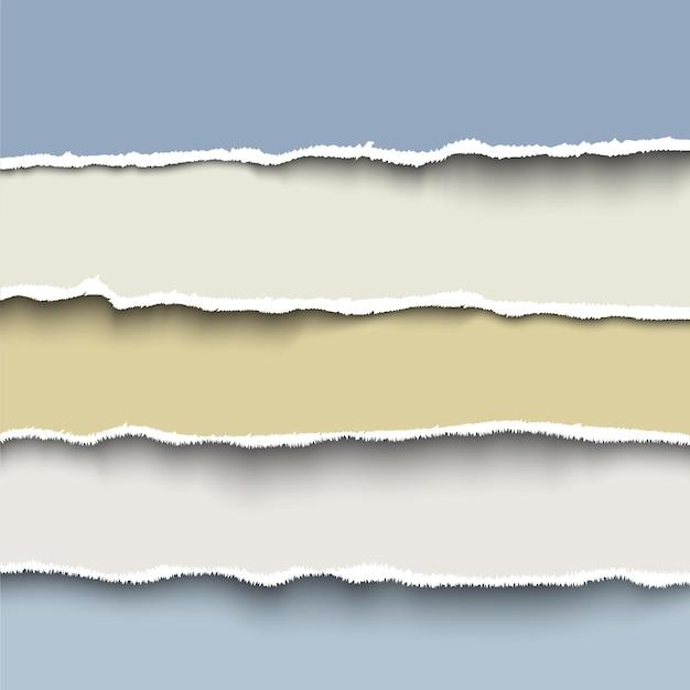 Conjunto de tiras de papel rasgado, modelo realista para banner