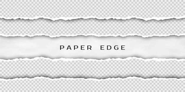 Conjunto de tiras de papel sem costura horizontais rasgadas