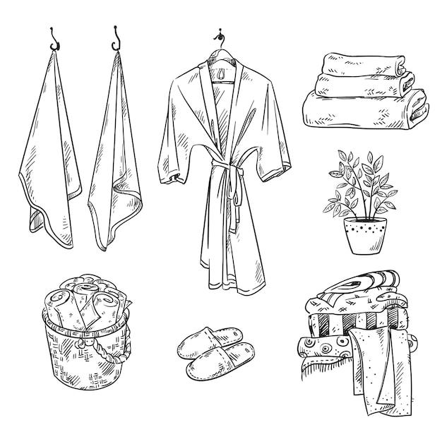 Conjunto de toalhas de objetos têxteis de banheiro e chinelos de roupão