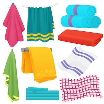 Conjunto de toalhas dobradas bonito dos desenhos animados.