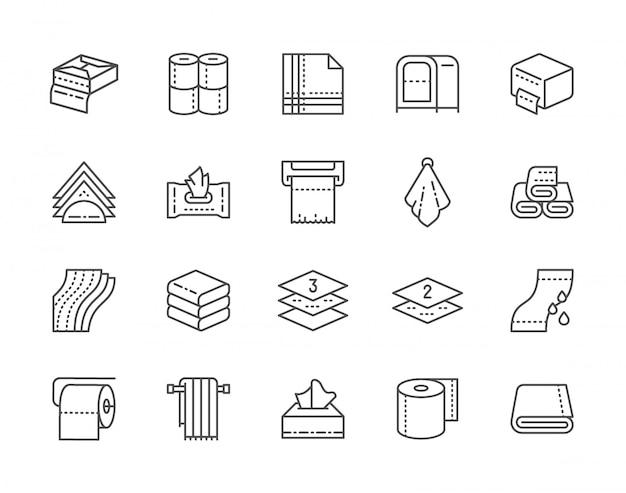 Conjunto de toalhas e guardanapos linha ícones. rolos de papel higiênico, suporte, secador de mãos e muito mais.