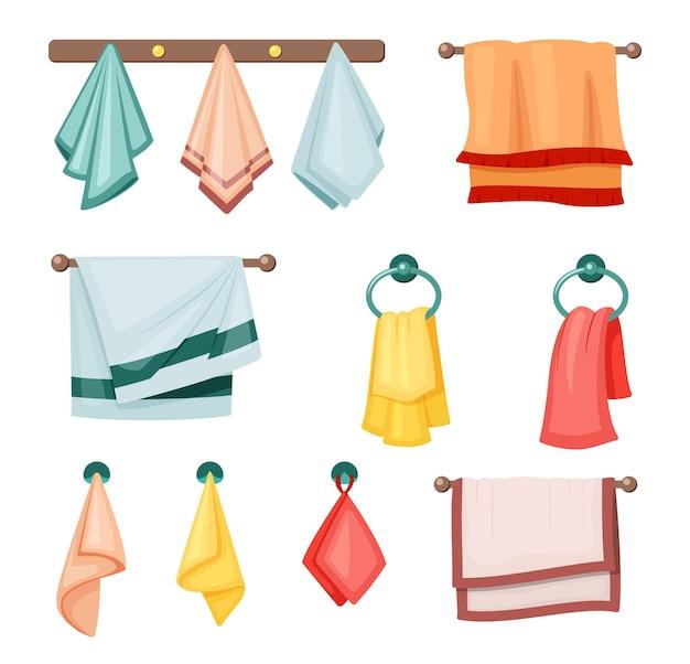 Conjunto de toalhas penduradas