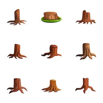 Conjunto de toco de madeira, estilo cartoon