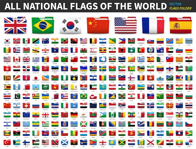 Conjunto de todas as bandeiras nacionais do mundo. bandeira de pasta