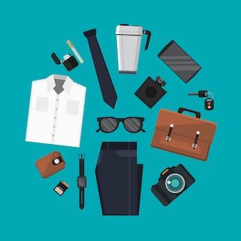Conjunto de todos os dias transportar e acessórios de roupa na ilustração de forma de círculo