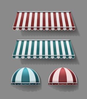 Conjunto de toldos retráteis horizontais e arredondados listrados em vermelho e turquesa com cores brancas sobre fundo cinza