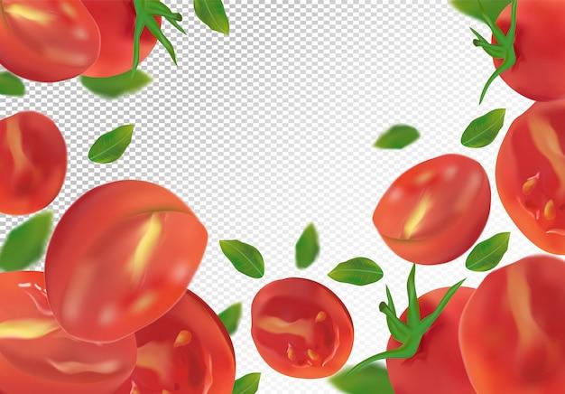 Conjunto de tomate é inteiro e cortado ao meio. tomate fresco em espaço transparente. tomate 3d realista de ângulos diferentes