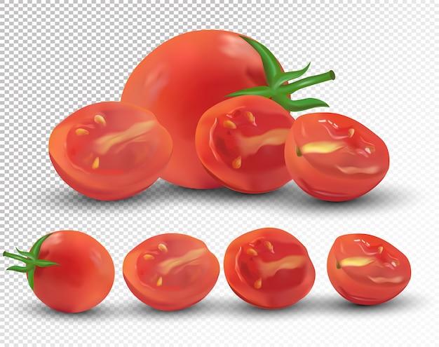 Conjunto de tomate é inteiro e cortado ao meio. tomate fresco em espaço transparente