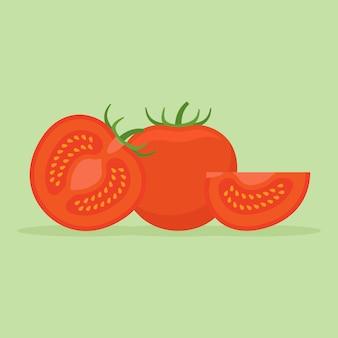 Conjunto de tomates inteiros e fatiados em estilo simples.