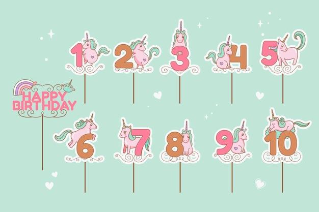 Conjunto de topers de bolo de aniversário
