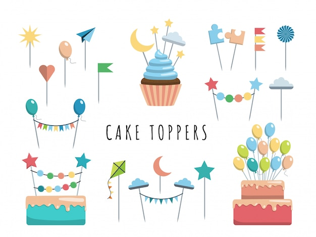 Conjunto de toppers de bolo e cupcake