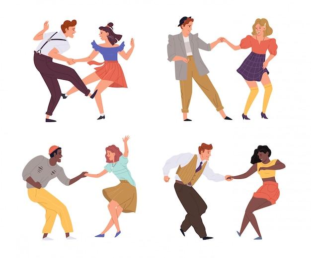 Conjunto de torção de dança de casais de ilustração