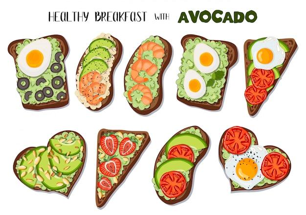 Conjunto de torradas com abacate