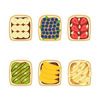 Conjunto de torradas com bagas e frutas no café da manhã em fundo branco, ilustração vetorial