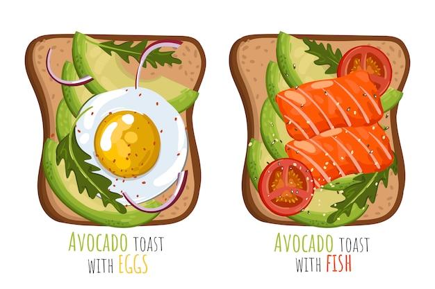 Conjunto de torradas de abacate com ovos e salmão.