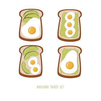 Conjunto de torradas de pão com abacate e ovos