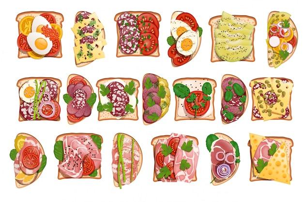 Conjunto de torradas de salame