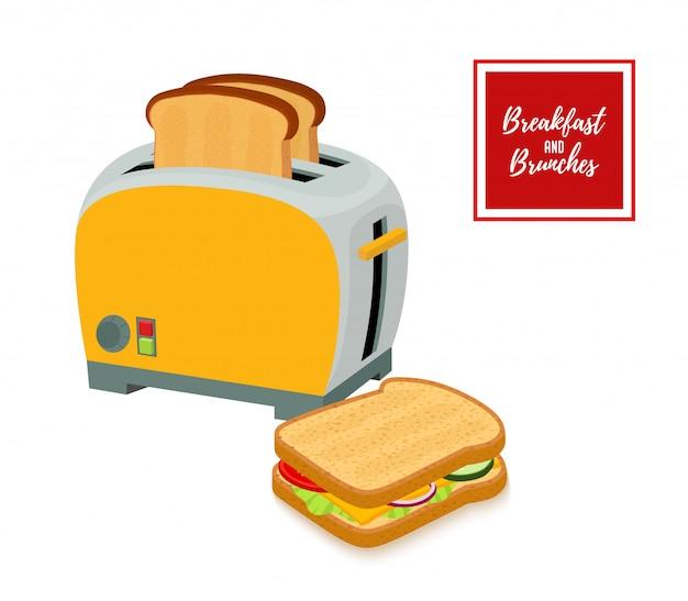 Conjunto de torradeira com pão frito e sanduíche