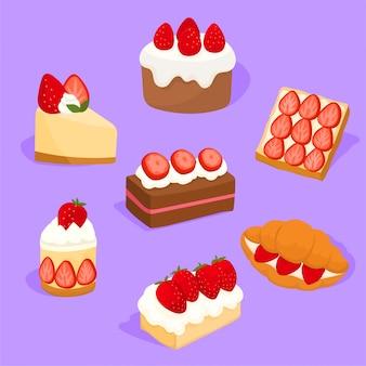Conjunto de tortas de morangos deliciosos e doces