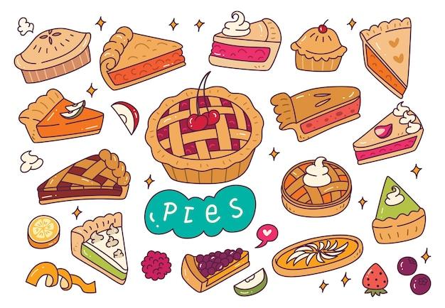 Conjunto de tortas desenhadas à mão
