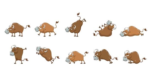 Conjunto de touro coleção gráfico clipart design