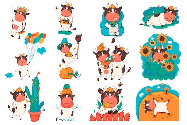 Conjunto de touros de desenhos animados em diferentes poses isolado em um fundo branco.