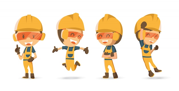Conjunto de trabalhador construtor de caracteres em emoções diferentes.