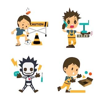 Conjunto de trabalhador da construção civil, acidente de trabalho, segurança em primeiro lugar, saúde e segurança