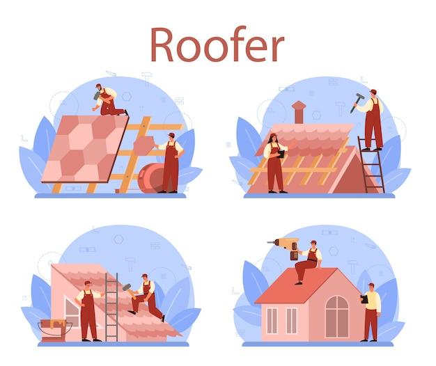 Conjunto de trabalhador de construção de telhado