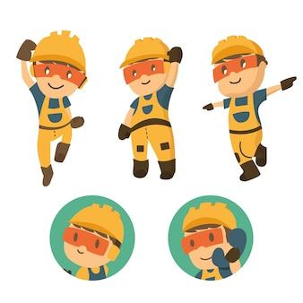 Conjunto de trabalhador de construtor de caracteres em várias situações.