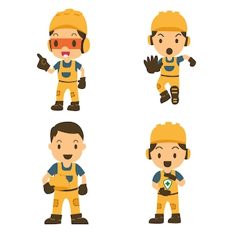 Conjunto de trabalhador de construtor de caracteres