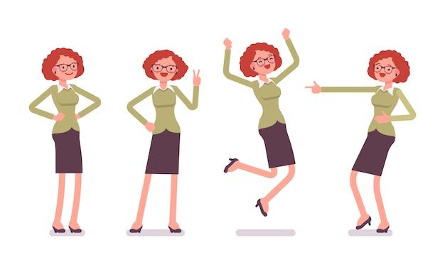 Conjunto de trabalhador de escritório feminino jovem, mostrando emoções positivas