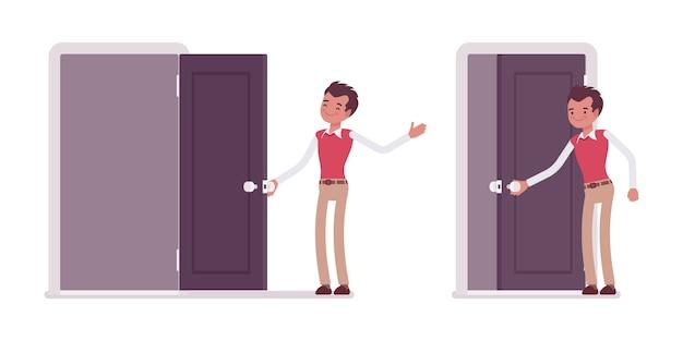 Conjunto de trabalhador de escritório masculino jovem, abrindo a porta e fechando