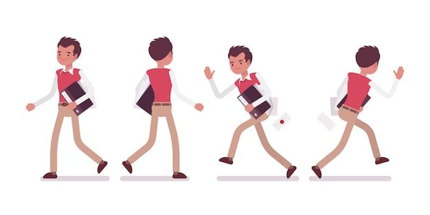 Conjunto de trabalhador de escritório masculino jovem em caminhar e correr poses