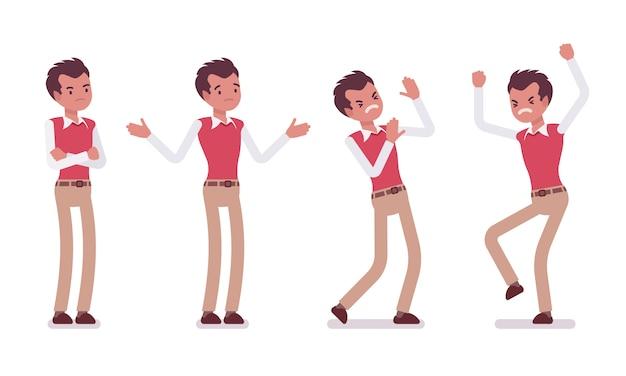 Conjunto de trabalhador de escritório masculino jovem, mostrando emoções negativas